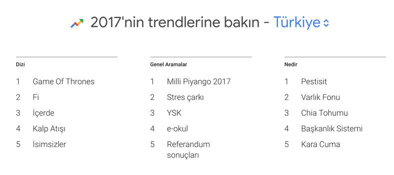 2017 Google Türkiye Arama Verileri